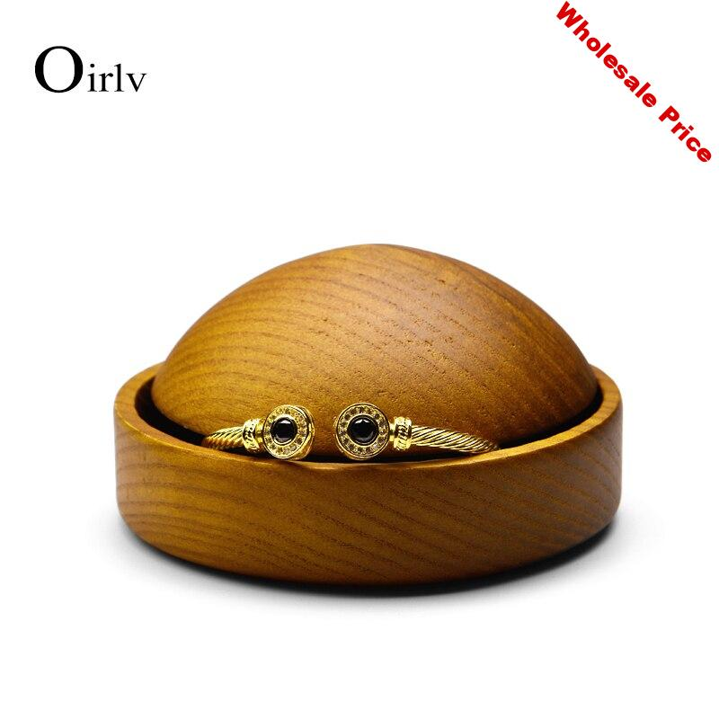 Oirlv Jewelry Display Round Dish Jewelry Support Wooden Earring Display Holder Earring Ring Bracelet Display for Jewelry Shop