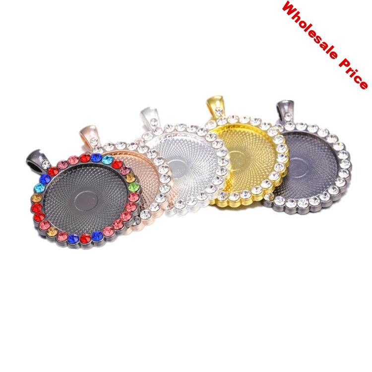 25/30mm Rhinestone Charm Pendant Base Setting Blanks Bezel Tray With Round Glass Cabochon Cameo For DIY Jewelry Making Supplies