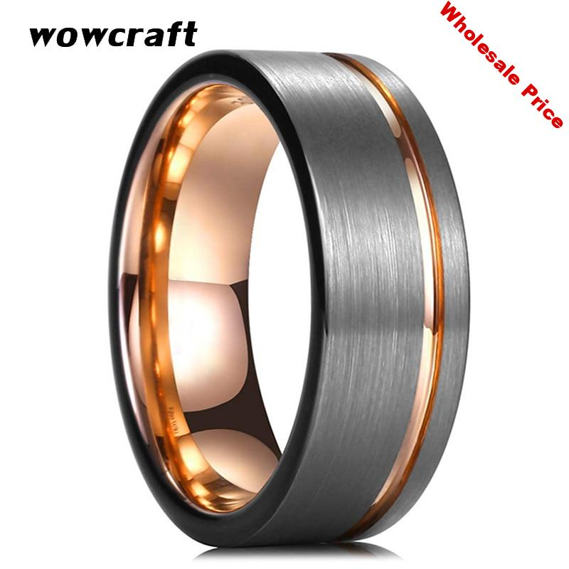 8mm Mens Tungsten Carbide Wedding Bands Rose Gold Black Man Engagement Ring Brushed Finish Tow Tone Offset Grooved Comfort Fit