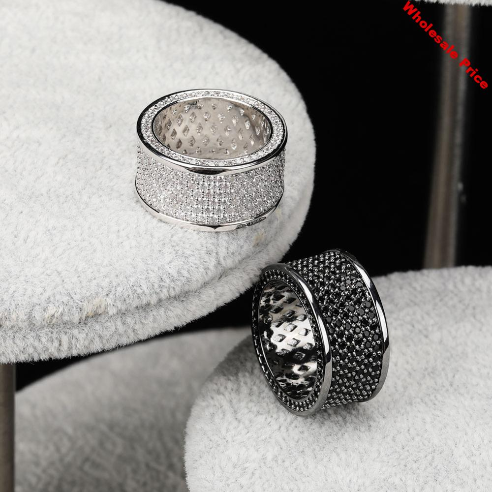 JINAO black silvery Iced Out Bling Ring Micro Pave Cubic Zircon Round Rings Hip Hop Rock Jewelry For Gifts Men And Women