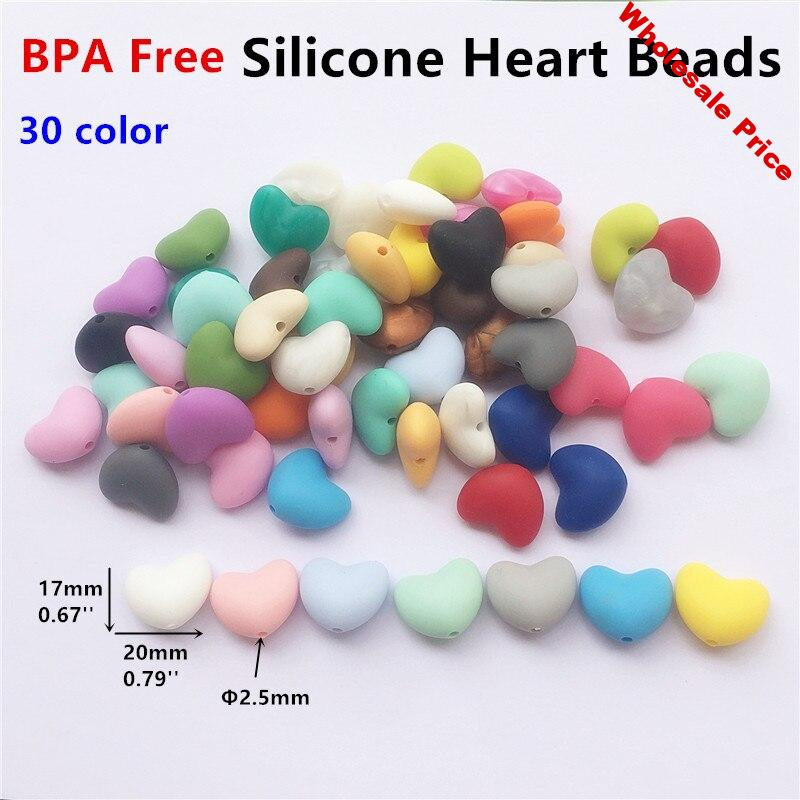 Chengkai 100pcs Silicone Heart Teether Beads Food Grade DIY Baby Pacifier Teething Jewelry Toy Making Beads  Accessories