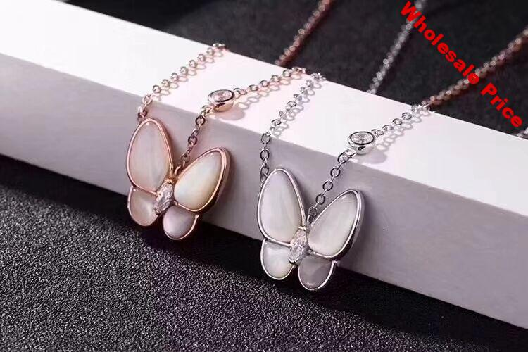 VCC04  925 Silver Butterfly Zircon Girl Necklace Birthday Party Zircon Necklace Engagement Wedding Ring