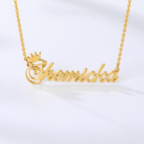 1 Set Crown Name Necklace Bracelet Anklet Jewelry Stainless Steel Chain Custom Any Letter Nameplate Pendant Friendship Gifts