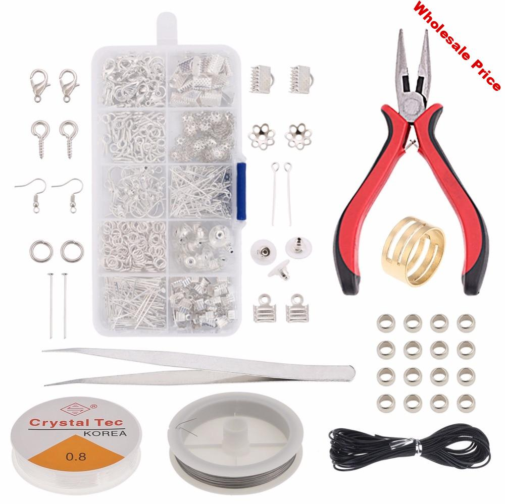 Jewelry Making Supplies  Kit Jewelry Repair PliersTool  Jewelry Findings Kit .Beading Cord Jump Rings and Lobster Clasps KY001