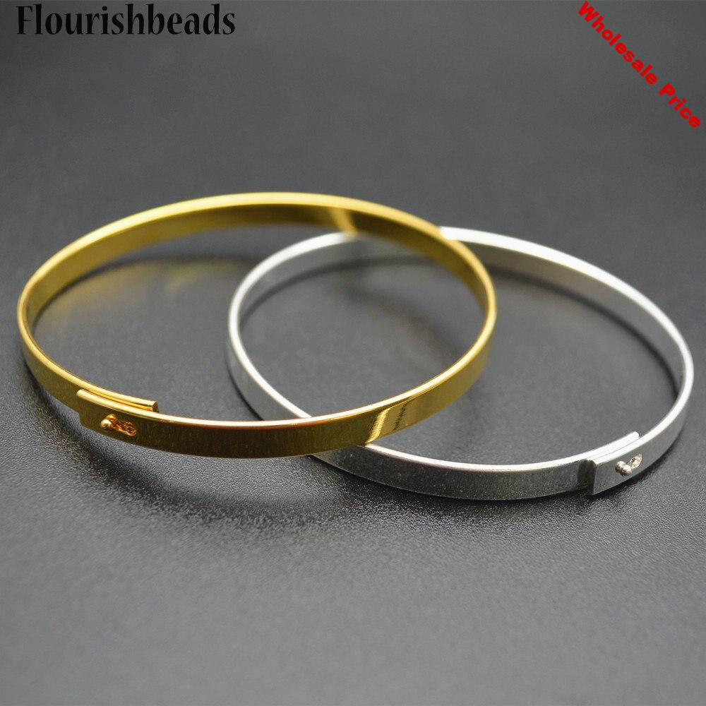 Gold or Silver Color 5mm Width Metal Copper Circle Wristband Cuff Bangle Jewelry Findings