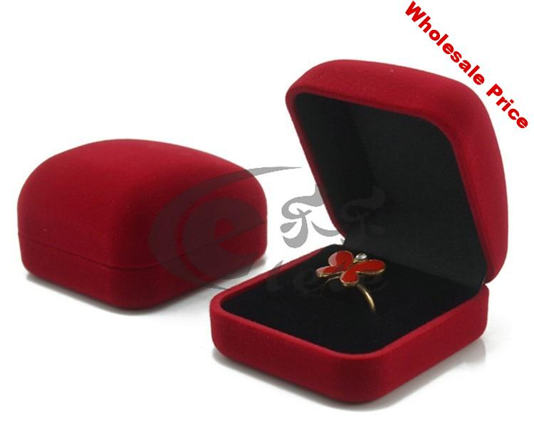 Wholesale 10pcs/Lot 5.5x5x2.8cm Dark Red Velvet Jewelry Box Cute Ring Box Favor Earrings Jewelry Display Packaging Gift Box Case