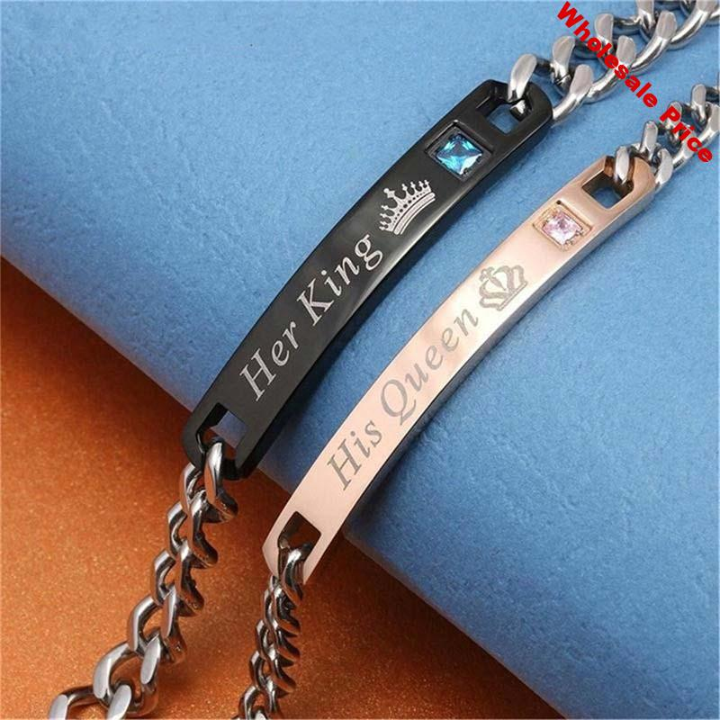 CH-767 Her King His Queen Lovers Bracelet Stainless Steel Crystal Crown Charm Bracelets Women Men Gifts for Couples Link Chain