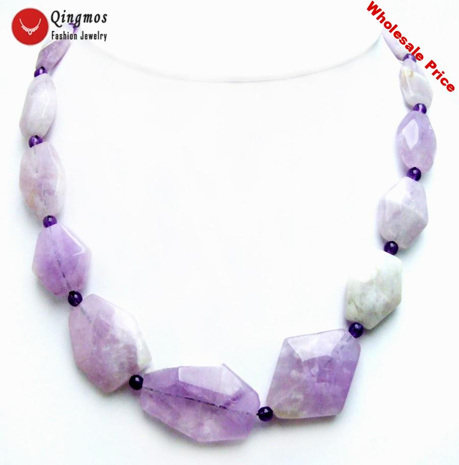 """Qingmos Natural Purple Amethyst Necklace for Women with 13-36mm Facted Rhombic Gem Stone 18"""" Chokers Necklace Fine Jewelry 6463"""
