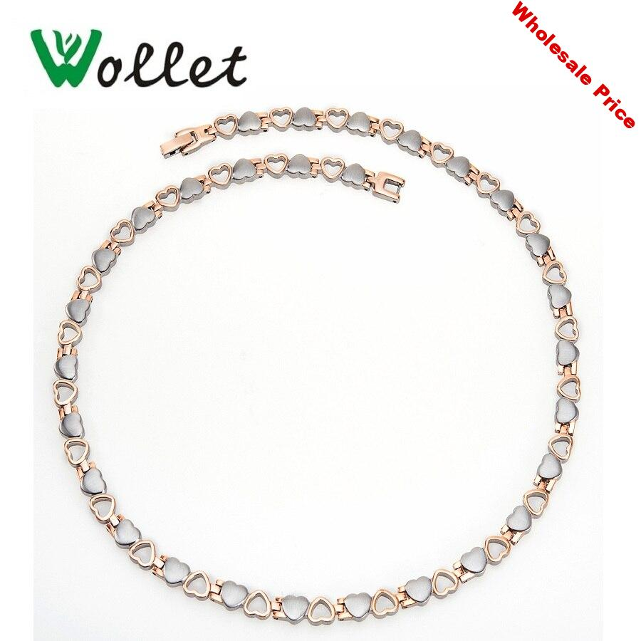 Wollet Heart Design 50cm Rose Gold Color Infrared Tourmaline Germanium Negative Ion Magnetic Stainless Steel Necklace for Women