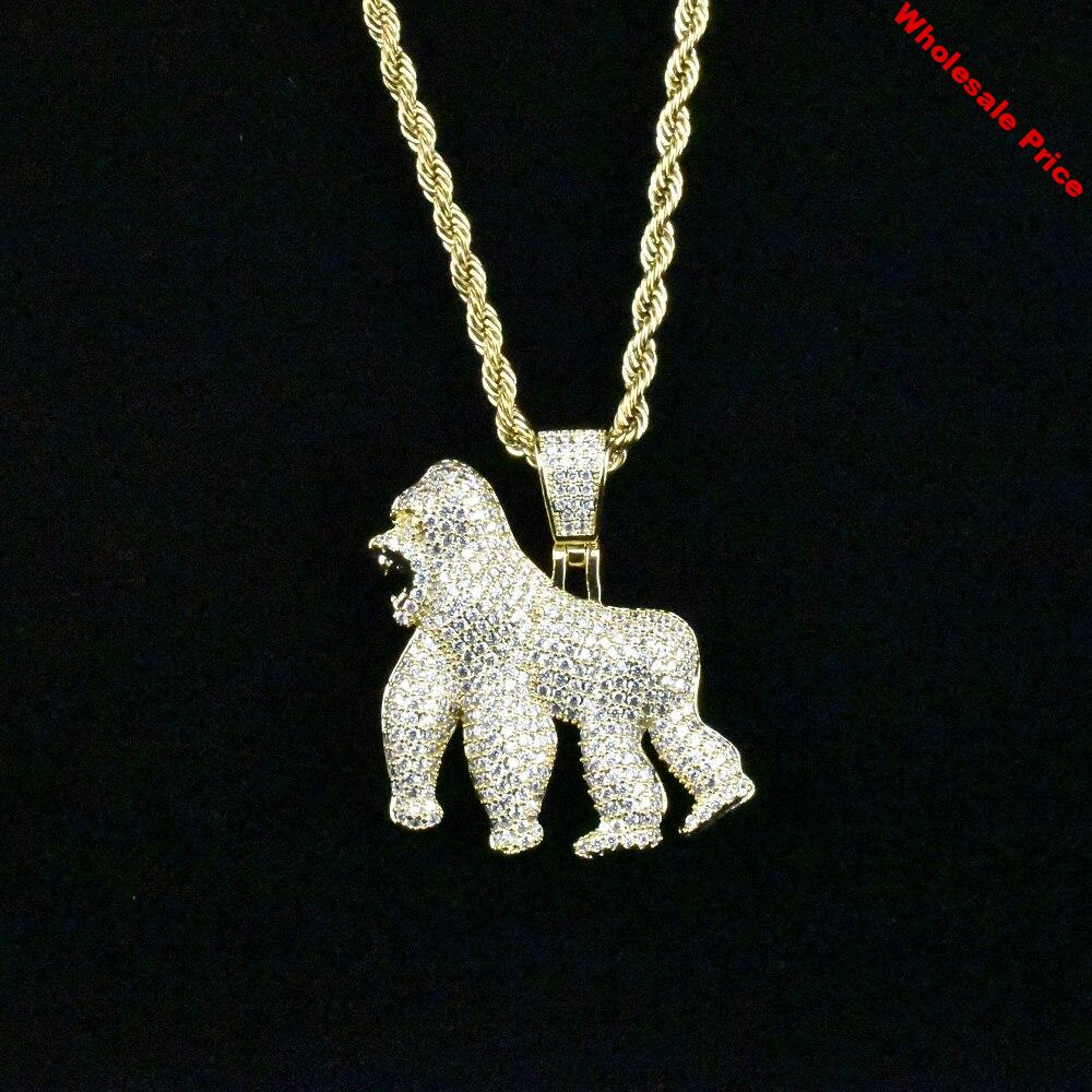Men Iced Out Bling Ape Zircon Pendant Necklace Hip Hop Rock Gold Silver Color Jewelry Gift with Stainless Steel Chain Necklace