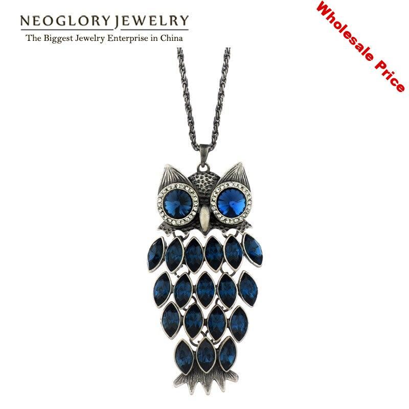 Neoglory Owl Austrian Crystal Long Tassal Necklaces Statement Fashion Teens Birthstone Gifts  Jewelry 2020 New Hot
