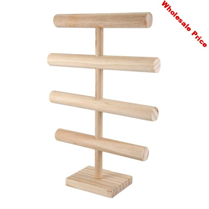 4 Tiers T-Bar Jewelry Stand Rack Solid Wooden Jewellery Display Holder for Bracelet Watch Bangle Hair Hoop