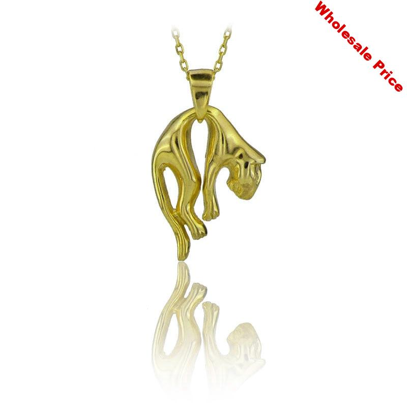 Jaguar Necklace 925 Sterling Silver Safari Lover Fashion Gold Necklace for Women Charming Boho Simple Choker Necklaces Jewelry