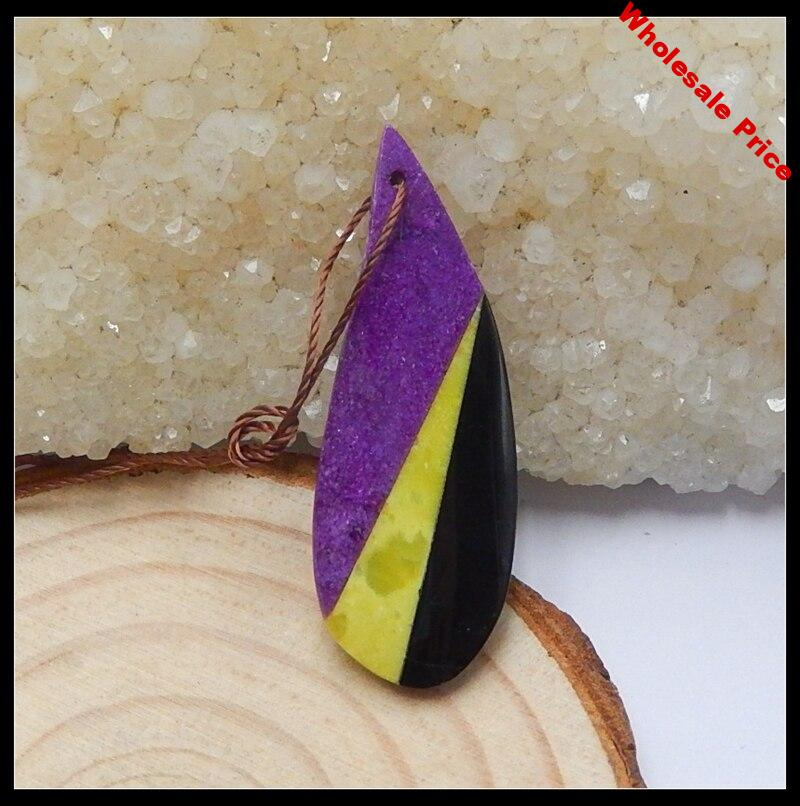 Sale 1Pcs Natural Stone African Stone Obsidian Obsidian Pendant Bead 40x15x4mm 2.4g Fashion Jewelry Necklace Pendant Accessories