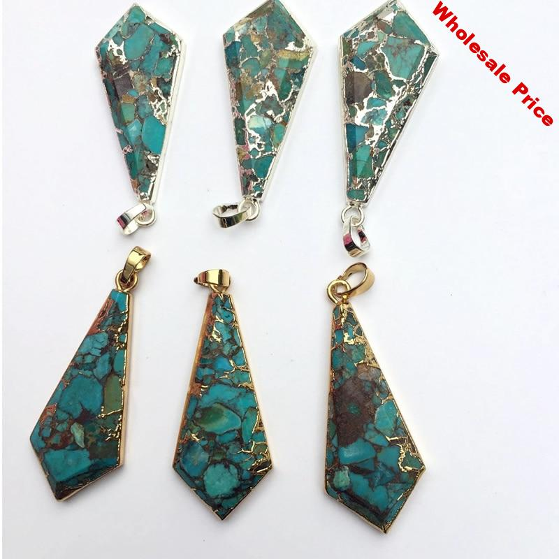 5pcs Natural Turquoises Layer Necklace Double Bar Turquoises Pendant Necklaces Suitable for DIY jewelry necklace making