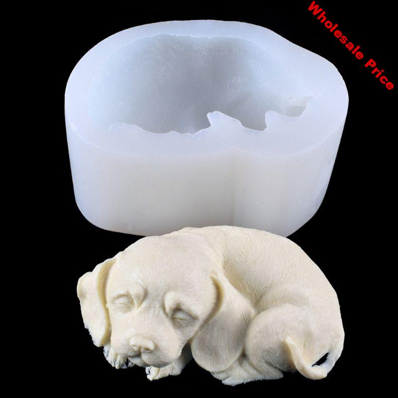 3D Dog Silicone Candle Molds Cute Puppy Soap Molds Chocolate Cake Baking Moulds  Dried Flower Resin Decorative DIY Hand Crafts