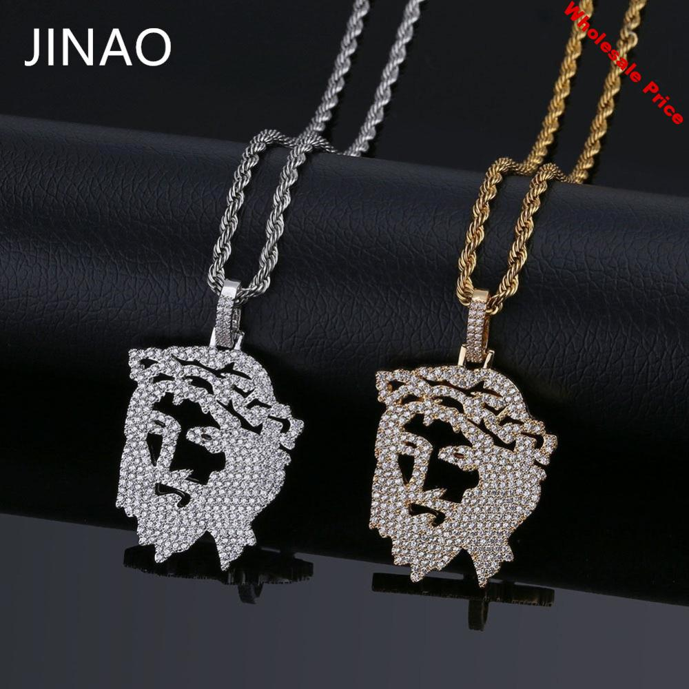 JINAO Solid Gold Silver Color Iced Out Chain Cubic Zircon Religious Ghost Jesus Head Pendant Necklace Men Hip Hop Bling Jewelry