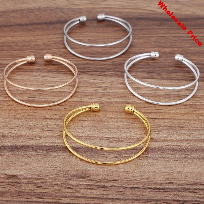 10pcs Ladies Simple Wire Bangle Wrist Bases Blanks Punk cuff Bracelet Settings Hip Hop Bangles for Women DIY Jewelry Findings