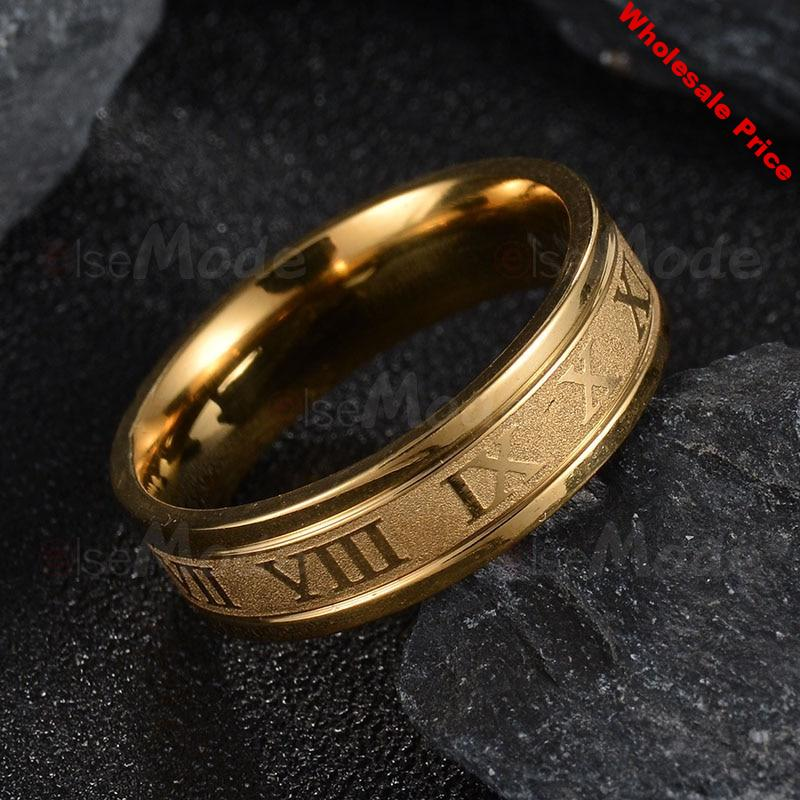 V-314 Stainless Steel Wedding Band Ring Roman Numerals Gold Black Cool Punk Rings for Men Women Fashion Jewelry