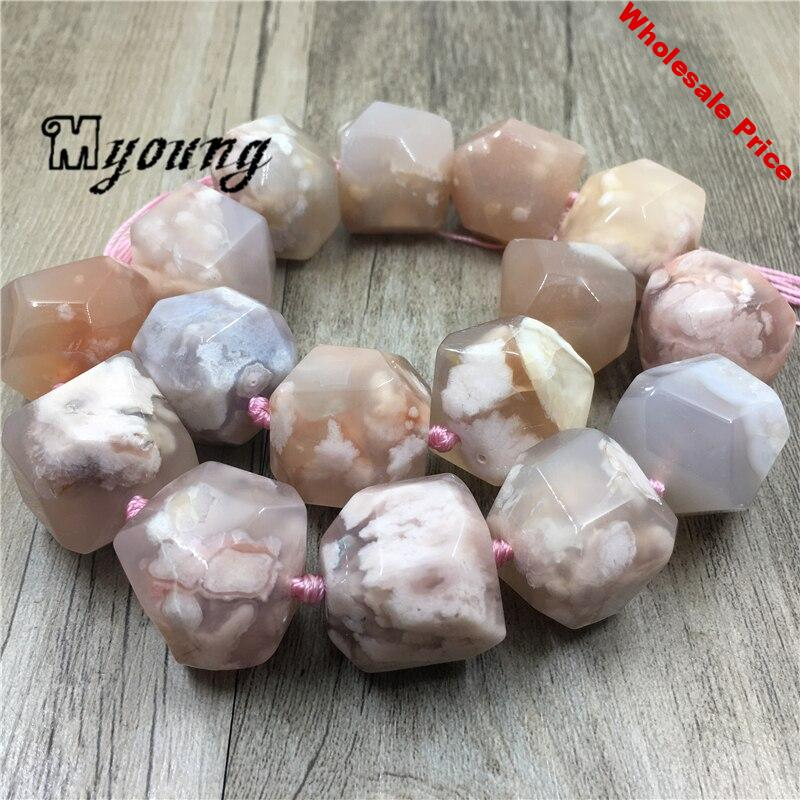 Large Faceted Cherry Agates Stone Nugget Beads