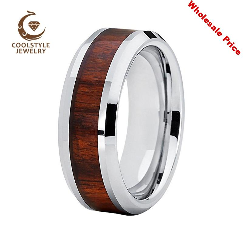 8MM Wedding Band Men Woman Tungsten Carbide Ring With Rosewood Wood Inlay Comfort Fit