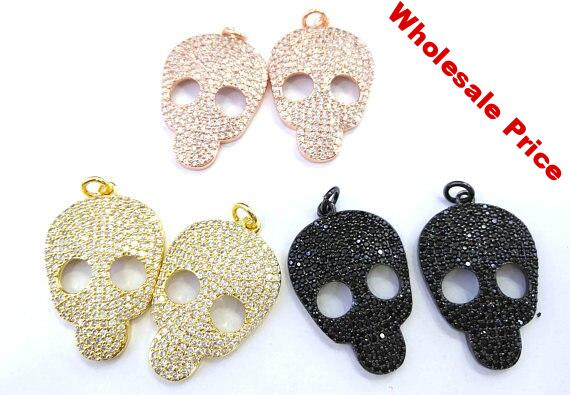 2sets Micro Crystal Pave Diamond Pendant 20-30mm Skull skeleton carved Jewelry Focal silver gold gunmetal stone beads