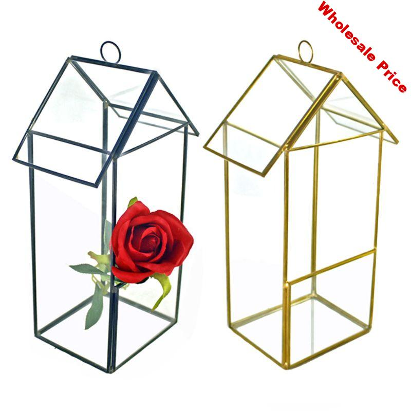 Whole Whole House Shaped Glass Terrarium Geometric Storage Box jewelry holder Terrarium Container Tabletop for Succulent & Air