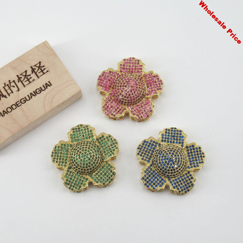 APDGG 35x35mm Yellow gold plated cubic zircon connector Micro Pave flower connector for necklace pendant Jewelry DIY