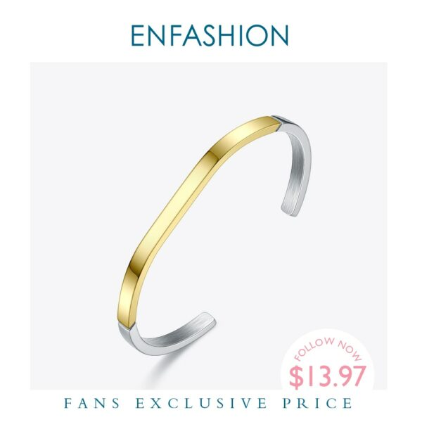 ENFASHION Simple Open Cuff Bracelets Bangles For Women Mixed Color Stainless Steel Minimalist Jewelry Friends Gifts BC192007