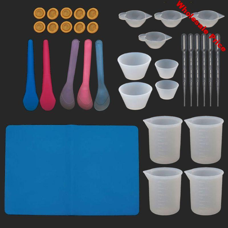 34Pcs Reusable Silicone Resin Kit Nonstick Silicone Mat 100ml Measuring Cups Finger Cots Resin Mix Cup Stir Stick Pipette