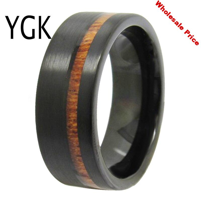 YGK Wedding Jewelry Matte Black Pipe Wood Inlay New Tungsten Rings for Men's Bridegroom Wedding Engagement Anniversary Ring