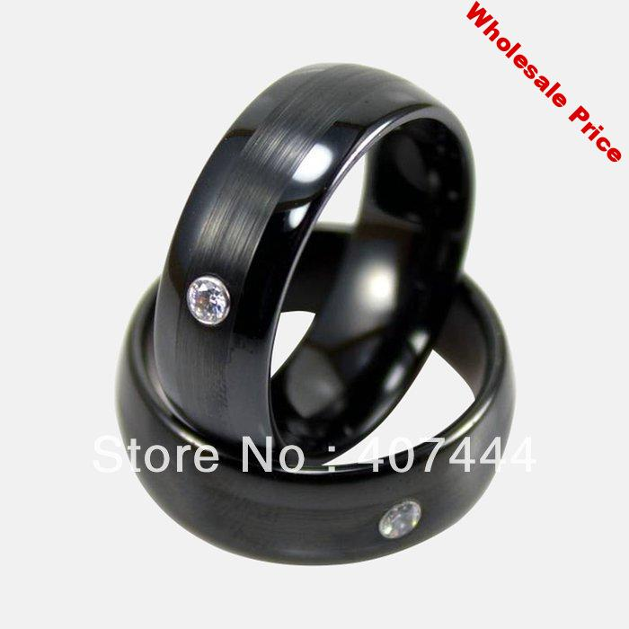 Free Shipping Cheap Price Jewelry USA Brazil Russia Hot Sales His/Her 8MM Black Brushed With CZ Tungsten Ring Mens Wedding Band