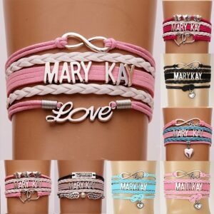 (10pcs/lot)  Infinity Love MARY KAY Bracelet Heart Charm Leather Rope Wrap Bracelets & Bangles For Women Men Jewelry 6Colors