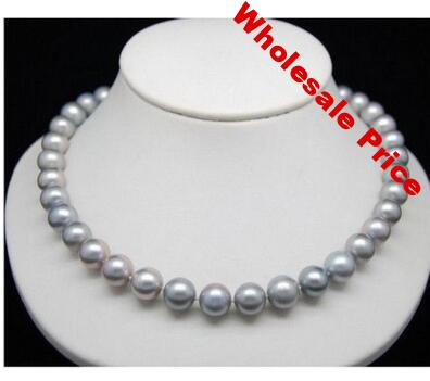 """HUGE AAA 10-10.5MM SOUTH SEA GENUINE GRAY PEARL NECKLACE 18"""" Natural Pearl  JewelryWomen Party"""