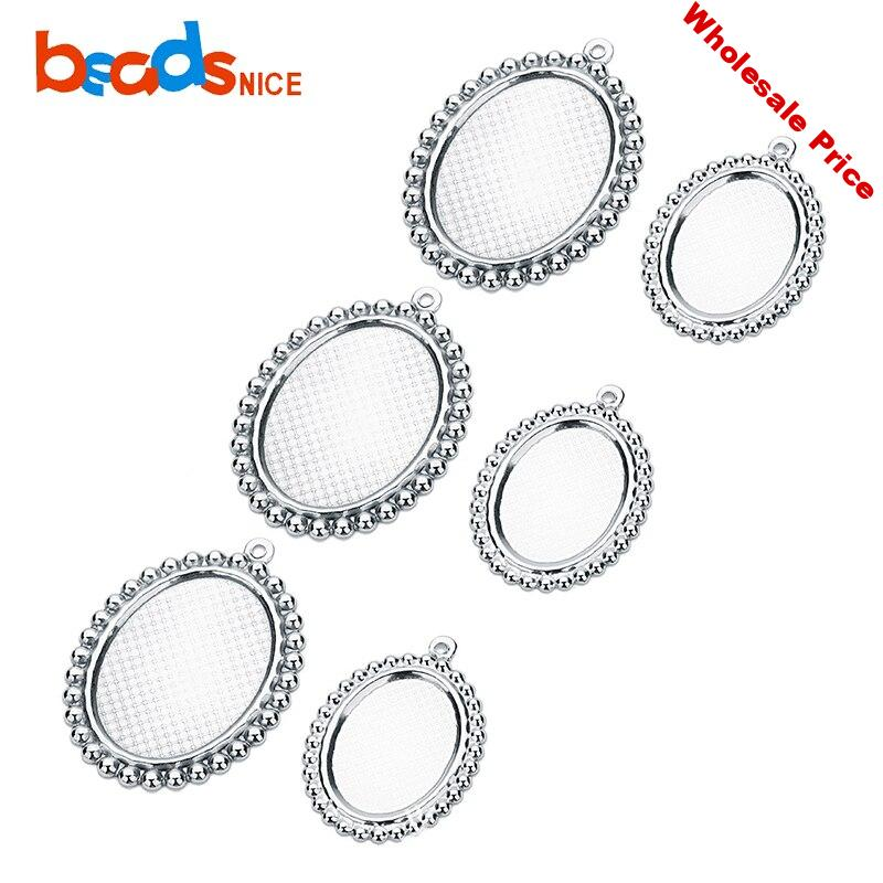 Beadsnice ID38388 Stainless Steel Pendant Base Trays Blanks Oval 13x18mm/18x25mm Bezel Setting Cabochon Setting Wholesale