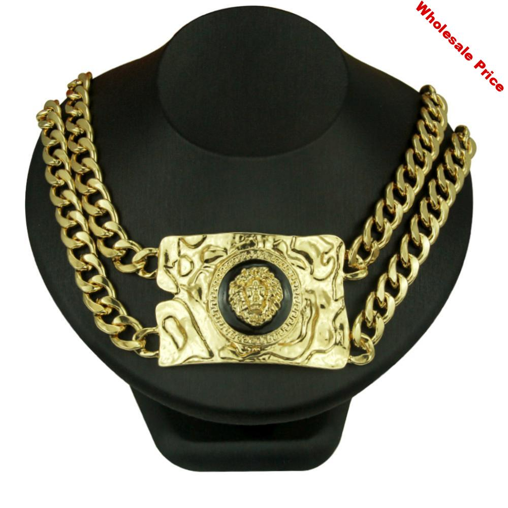 Domineering Exaggerated Painting Oil Lion Head Necklace Hiphop Hip-hop Nightclub Men And Women Accessories Clavicle Chain