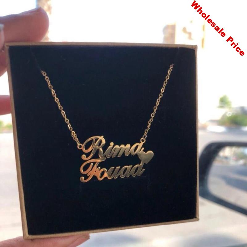 vintage Couple Name Pendant Necklaces Stainless Steel Custom 1-3 Names Heart Necklace Women Handmade Jewelry Birthday Gift