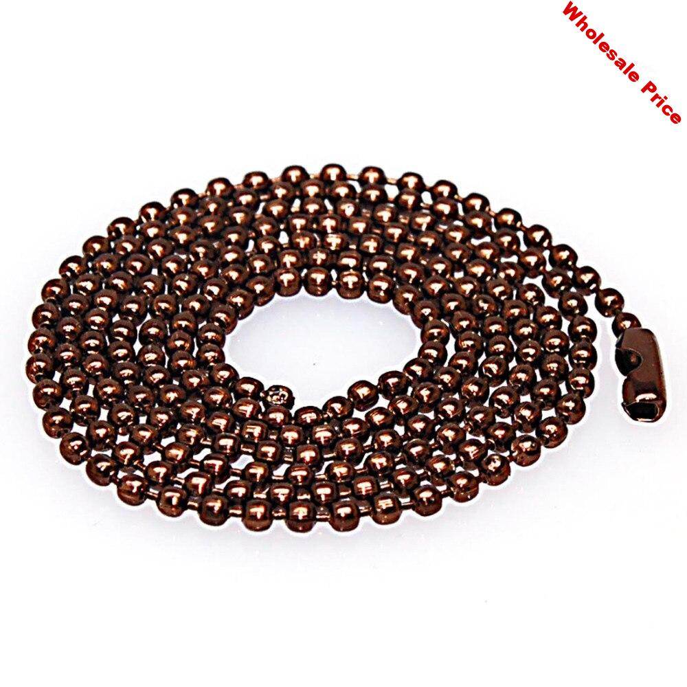 2.4mm coffee Dog Tag Chains Ball Bead Chain Ball Chains Necklaces Keychains dog tag