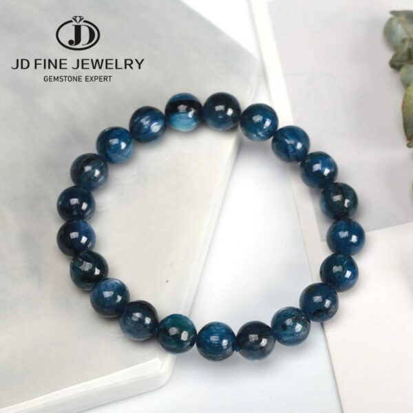 JD 7-8mm Fine Jewelry Dark Blue Kyanite Stones Bracelet be fit for Glamour rmen and women Amulet Jewelry High Quality