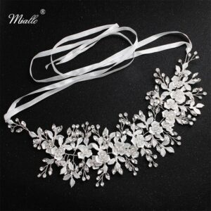 Miallo Fashion White Flowers Crystal Handmade Headband Wedding Hair Jewelry Accessories Headpieces Princess Tiaras and Crown