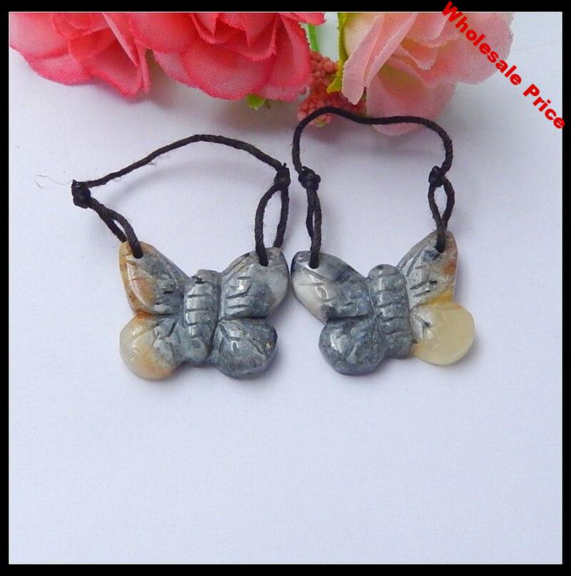Sales 1Pairs Natural Stone Handmade Butterfly Double Hole Beauty Earring Bead 22x18x4mm 5.6g