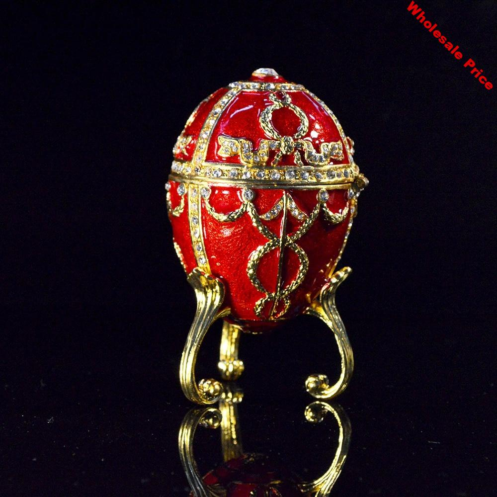 QIFU Metal Craft Red Faberge Egg for Jewelry Box