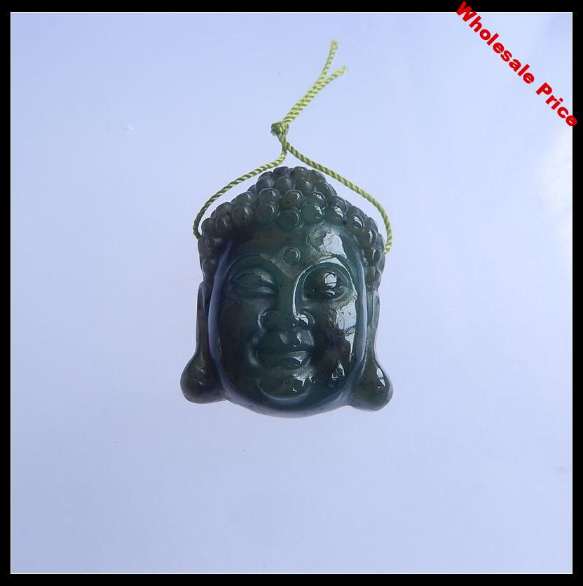 Natural Stone Canada Jade Carved Buddha Head Side Drilled Fashion Necklace Pendant 31x25x11mm 15.25g