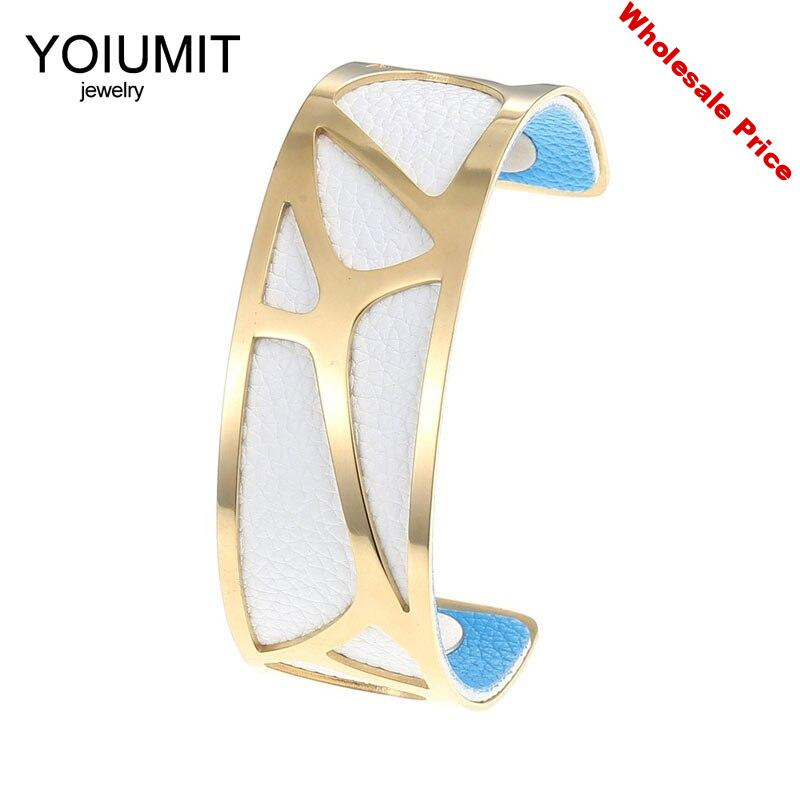 Cremo Simple Gold Bangles Bracelets For Women Manchette Femme Jewelry Stainless Steel Bracelets Interchangeable Leather Bangles