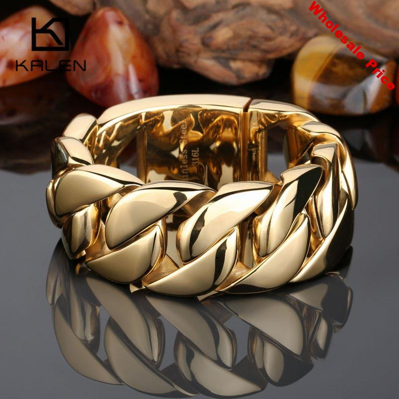 Kalen High Quality 316 Stainless Steel Italy Gold Bracelet Bangle Men's Heavy Chunky Link Chain Bracelet Fashion Jewelry Gifts