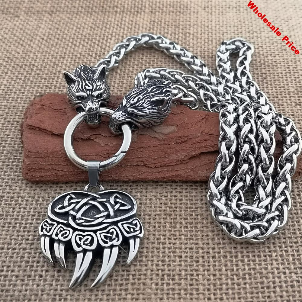 60cm stainless steel wolf head chain necklace Viking titanium steel wolf claw pendant man necklace sweater chain Viking jewelry
