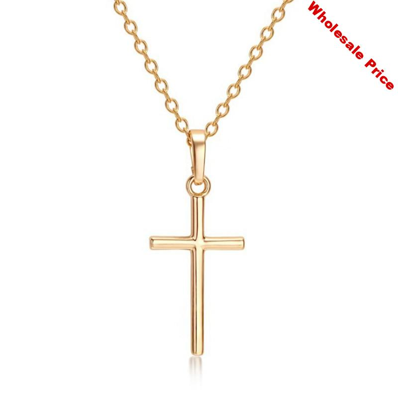 VA-73 Fashion Cross Chain Necklace For Women Men Luxury Ladies Gold Jewelry Pendant Necklaces Crucifix Christian Ornament Gifts