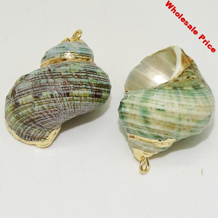 New DIY Necklace Shell Pendant Gold Color Natural Green Conch Shell Pendant Gold Trim Seashell Pendant