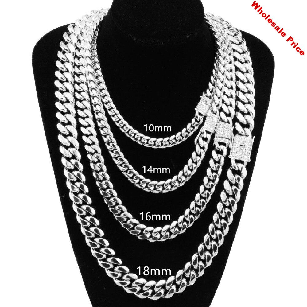 8-18MM Stainless Steel Miami Cuban Curb Chain White Rhinestone Clasp Mens Womens Silver Color Necklace Or Bracelet Jewelry7-40''