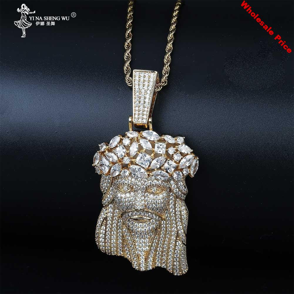 New Big Jesus Necklace & Pendant With Rope Chain Gold Color Iced Out Cubic Zircon Men's Hip Hop Jewelry Gift For Men Rapper 2020